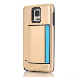 Wholesale Super Slim Phones - For Note 4 Super slim Armor Card Slot Rubber shockproof TPU+PC Phone case Cover for Samsung galaxy Note 4 N9100
