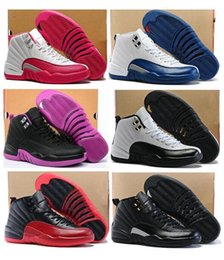 Wholesale Pink Girl Sneakers - High Quality Women Retro 12 GS Hyper Violet Youth Pink Valentines Day Basketball Shoes Girls 12s The Master Taxi Sneakers With Box