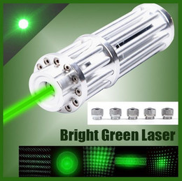 Wholesale Green Laser Burning Caps - High Power Green Laser Pointer Pen 532nm Military Zoomable Burning match with 5 star caps Beam use 18650 battery