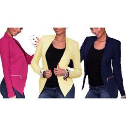 Wholesale Womens Long Length Coats - New Casual Autumn Winter Womens ladies Outerwear Long Sleeve Slim Suits Jackets blazer Coat 3 Colors 4 Size