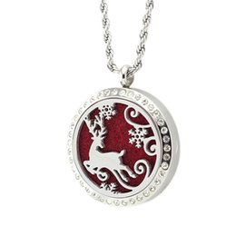 Wholesale Deer Charm Pendant - 5PCS 30MM Crystal Christmas Deer Necklace Pendant Silver Essential Oil Diffuser 316L Stainless Steel Necklace Pendant With Pad Chain
