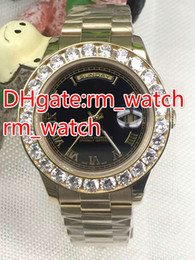 Wholesale Watch Big Size Men - luxury brand Big diamond Men automatic Gold Watches DATE 43mm size sapphire glass watch stainless steel AAA quality replicas watch