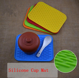 Wholesale Wholesale Square Dishes - Silicone Dish Drying Mat Durable Rectangle Heat Resistant Square Cup Pot Bowl Plate Table Mats OOA2622