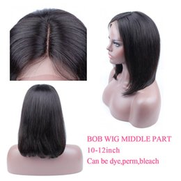Wholesale Synthetic Remy - 8A Grade Mink Brazilian Human Hair Short Bob Wigs For Black Women Brazilian Remy Hair Lace Front Human Hair Wigs Bleached Knots Straight