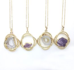 Wholesale Hoop Pendant Necklace - JLN Amethyst Hollow Agate Brass Hoop Pendant Natural Gemstone Quartz Crystal Gold Plated Necklace With 18 Inches Brass Chain