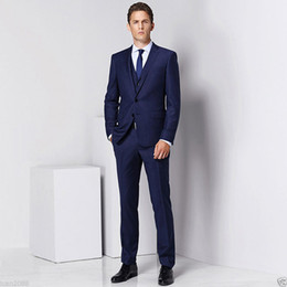 Wholesale Tailor Made Formal Pants - New Custom Made Men's Tailored Navy Blue 3 Piece Slim Fit Regular Formal Business Wedding Suit (jacket+vest+pants) D598