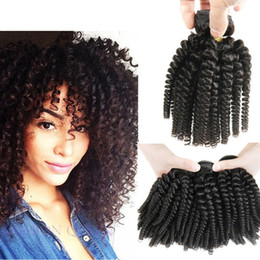 Wholesale Bouncy Wave Hair - 7A Grade 3 Bundles Deals Afro Kinky Curly Hair Spiral Curl Weave Human Hair Peruvian Virgin Hair Curly Wave Aunty Funmi Bouncy Curls Fumi