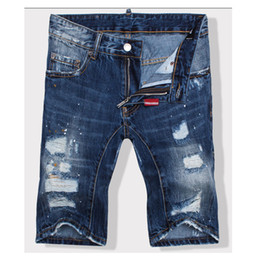 Wholesale Fly Hole - Wholesale-2016 Top quality Summer Ds Men Ripped Jeans Shorts Retro Washed Blue Holes Skinny Denim Knee Length Pants Famous Brand