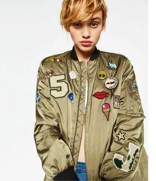 Wholesale Hot Slim Patch - Hot Sales Vintage Letter Number Cartoon Patch Designs Sequins Baseball Bomber Zipper Jacket Coat Pilots Trendy Women Outwear Top 2 Colors