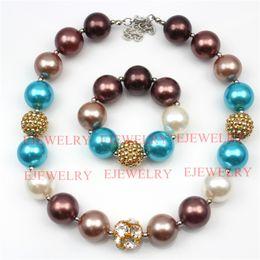 Wholesale Chunky Gold Chain Bracelets Jewelry - fashion jewelry gold alloy rhinestone beads coffee&blue pearl beads chunky girl bubblegum kids Necklace&bracelet set
