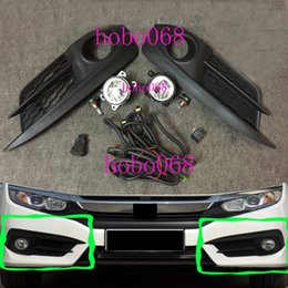 Wholesale Oem Honda Civic - 1SET For Honda Civic 2016 Car Front Bumper FOG Light LAMPS BULBS Switch LINE LH&RH OEM