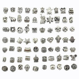 Wholesale Big Hole Beads Silver - Bead Mix Style Antique Silver Plated Alloy Big Hole Charms Spacer Beads fit pandora bracelet DIY Jewelry Necklaces & Pendants charms Beads