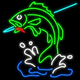 """Wholesale Red Sea Lighting - Fish on Hook Custom Neon Sign Real Glass Tuble Light Restaurant Eating Sea Food Store Dish Display Sign Fishing Advertisement Sign 24""""x24"""""""