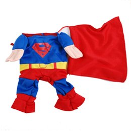 Wholesale Cat Suit Costumes - Fashion Lovely Pet Cat Dog Superman Costume Suit Puppy Dog Clothes Outfit Superhero Apparel Clothing for Dogs Autumn Winter