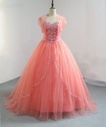 Wholesale Tulle Sweatheart - 2017 Vintage Coral Quinceanera Dresses with Jacket Sweatheart Neck Masquerade Ball Gown Floor Length Sweet 16 Dresses