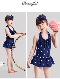 Wholesale Children S Swimwear Cute - cool Swimwear Girls Lovely Bowknot Swimsuit 2016 Children's Suit Cute Girl Bowknot Swimsuit With Caps Summer Children swimwear bikini