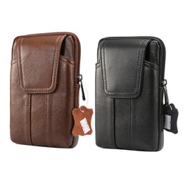 Wholesale Retro Bags For Men - Genuine Leather 6.2inch Fashion Men Waist Bag for iPhone Retro Belt Pouch for Samsung Note 8 S8 Plus S7 Wallet Case