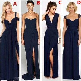 Wholesale Sexy Silver Gray Wedding Dress - Most Popular Different Styles Mismatched Sexy Chiffon Navy Blue Formal Cheap Bridesmaid Dresses Maid of Honor Gowns Wedding Party Dress