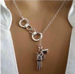 Wholesale Handcuff Collar - Wholesale-Handcuff Gun Pendant Necklace Vintage Silver Choker Collar Statement Slidable Necklace Charms Pendant New Fashion Jewelry Women