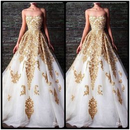 Wholesale Accent Black - 2017 Evening Dresses Rami Kadi Sweetheart Beaded Crystal Accented White And Gold Applique Formal Gowns Vestido Vermelho Sereia