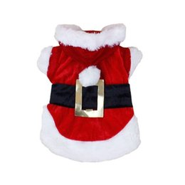 Wholesale Pet Santa - New Christmas Dog Clothes Santa Claus Doggy Costumes with waist belt design winter outfit Jacket coat for pet drop shipping Christmas Hallow