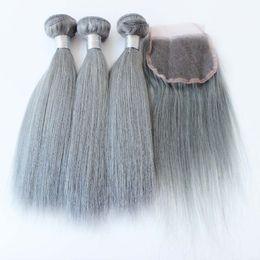 2019 königin lieben reines haar 3 Stücke Haar mit Verschluss Menschliches Haar Grau Brasilianische Gerade Silber Grau Haarverlängerungen Grau Weave Bundles Mit Verschluss Auf Lager