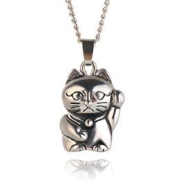 Wholesale Smiling Cat Pendant - 2016 New Fashion Fine Jewelry Gold plated Beads Opal Smile Lucky Kitty Cat Clavicle Chain Necklaces & Pendants For Women 12PCS LOT