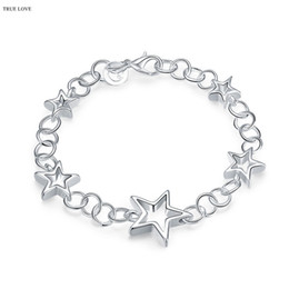 Wholesale Cheap Star Bracelets - Woman's Star Bracelet 925 sterling silver plated Fashion Jewelry hot Christmas gift factory cheap wholesale top quality free shipping