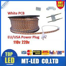 Wholesale Epistar Strip - high voltage 110V 220V LED Strips 100M waterproof IP67 Epistar SMD3528 SMD2835 SMD3014 led flexible strip white warm white with Power plug