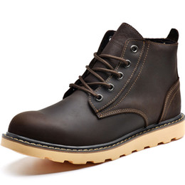 Wholesale Cheap Winter Ankle Boots - Free shipping winter men hiking boost! Genuine leather men leisure ankle boots 39-44 Warm outdoor snow boots cheap sale!