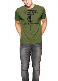 Wholesale Usmc Combat - Military T-Shirt Trench Knife USMC Army Navy Airforce Combat Tshirts for Men Tee Casual Plus Size T-Shirts Hip Hop Style Tops Tee S-3Xl