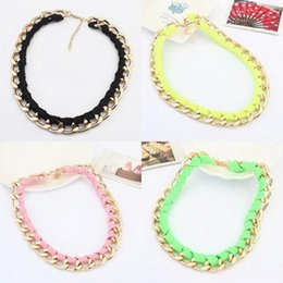 Wholesale Neon Cotton Rope - 1pc Fashion Gold Chain Neon Cotton Rope necklace Vintage Women Pendant jewelry C00141 SMAD
