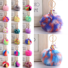 Wholesale Leather Keyrings For Car Keys - New Charm Women Fur Pompom Unicorn Keychain Fluffy Artificial Rabbit Fur Key Chains For Cars Bag Rainbow Plush Keyrings Jewelry D31Q