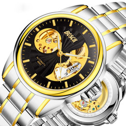 Wholesale Moon Watch Design - Brand men's Mechanical automatic stainless steel luminous Novelty design with moon and sun pattern waterproof business hollow watches