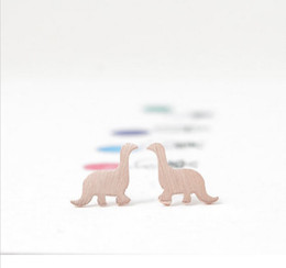 Wholesale 18k Rose Gold Earrings - Wholesale 2016 gold silver plating rose gold earrings sweet dinosaurs stainless steel fashion jewelry, women's best gift