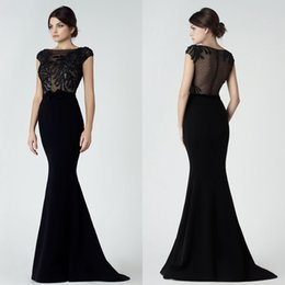 vestito di pizzo trasparente nero Sconti Black Saiid Kobeisy Lace Dresses  Evening Wear Mermaid Bateau Neck d6cb5d6730d