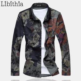 Wholesale Type Dress Collars - Wholesale- Men Casual Flowers Print Dress Shirts Loose Type Shirt Long Sleeve Floral Cotton Blouse Male Plus Size 6XL 7XL Autumn Winter K71