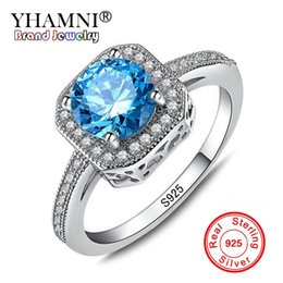 Wholesale Silver Ring Blue Gem - YHAMNI Luxury 1ct 6mm Natural Blue Gem Stone Rings for Women Real 925 Sterling Silver CZ Diamond Engagement Wedding Rings KR154