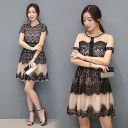 Wholesale Korea Summer Short Dress - Wholesale- 1686# 2017 Summer New Korea Style Women Fashion Short-sleeved O-neck Sexy Hollow out Lace Stitching Dress Casual Dress Vestidos