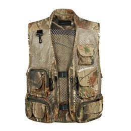 Wholesale Green Photographers - Summer Mesh Men Vest With Many Pockets Sleeveless Photographer Vest Male Clothes