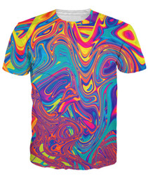 Wholesale Psychedelic Shirt Men - Wholesale-Oil Spill T-Shirt psychedelic swirl of vibrant colors 3d Print t shirt Women Men Tees Sport Tops Summer Style Outfits Plus Size