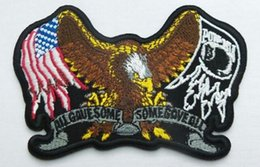 "Wholesale Eagle Embroidered Patches - USA EAGLE POW MIA DELUXE 5"" Embroidered Biker Vest Emblem punk rockabilly applique sew on  iron on patch Free Shipping Party Favor"