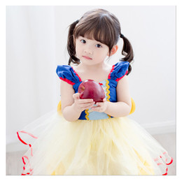 Wholesale Princess Pompon Dress - Girls party dress summer Snow White girls dress performance clothing net yarn Pompon princess dress kids hight quality clothes