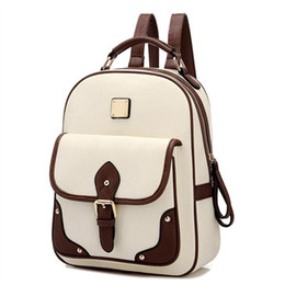 Wholesale Korean Leather Bag Brands - 2017 Fashion High Quality Brand Patchwork Women Travel Bag Women's PU Leather Backpack girls School Backpack