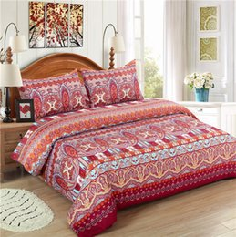 Wholesale Floral Bedding Queen - Boho Bedding Lightweight Polyester microfiber Reversible 3pcs Duvet Cover Set Quilt Cover Set, Print Floral Design, Full   Queen   King Size