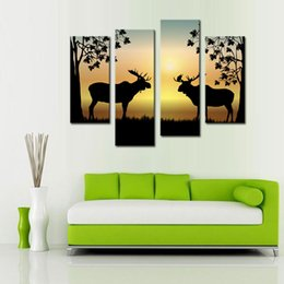 Wholesale Wooden Hanging Rack - 4 Panels Deer Painting Fluorescent Yellow Picture Print on Canvas with Wooden Framed Antler Racks Wildlife Home Wall Decor Ready to Hang