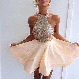Wholesale Sparkle Homecoming Dresses - 2016 New Champagne Halter Sparkling Sequins Short Homecoming Dresses Mini Short Party Prom Cocktail Dresses BA3349