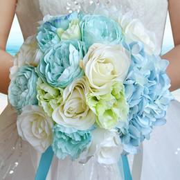2019 New Sky Blue Beach Hochzeitsblumen Hochzeitssträuße Brautjungfern Kunstseide Rose Brautstrauß Hochzeitszubehör von Fabrikanten
