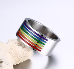Wholesale 18k Enamel Ring - High Quality Rainbow Ring for Gay Finger Ring Jewellry 10mm Large Stainless Steel Ring Rainbow Gay Pride Jewelry Manual Polishing Enamel