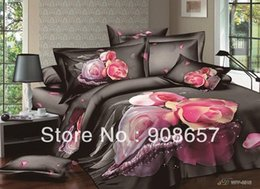 Wholesale Comforter Wedding Twill - pink black rose flower necklace printed bed linen Girls wedding bedding cotton full queen comforter bedclothes duvet covers sets